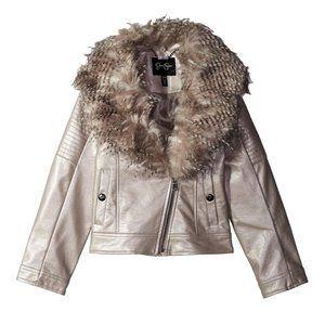 Girls Faux Leather Fur Trim Moto Zip up Jacket